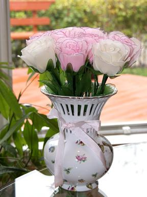 Nylon Roses as Centerpieces
